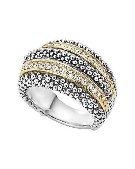 Lagos | Metallic Diamond Caviar Beaded Ring | Lyst