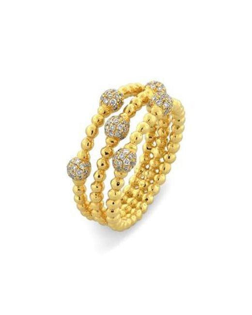 Bony Levy | Yellow Pave Ball Bead Three-row Diamond Ring (nordstrom Exclusive) | Lyst