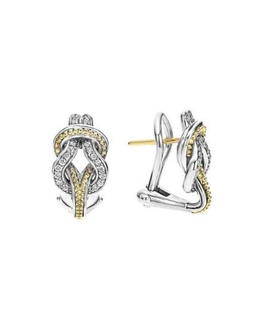 Lagos | Metallic 'newport' Diamond Knot Earrings | Lyst