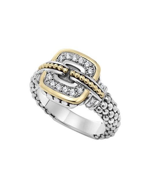 Lagos | Metallic 'cushion' Small Diamond Ring | Lyst