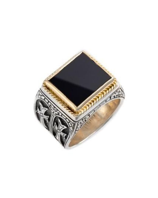 Konstantino | Metallic 'minos' Side Cross Ring for Men | Lyst