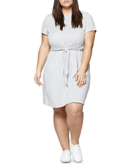 Sanctuary - Gray Juno Tie Waist T-shirt Dress - Lyst