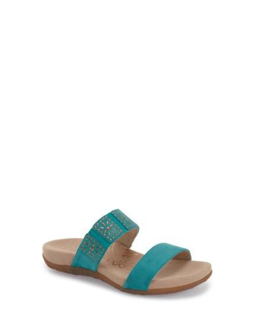 Aetrex | Blue 'macy' Double Band Slide Sandal | Lyst