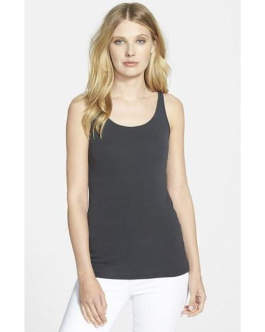 Eileen Fisher | Gray Long Scoop Neck Camisole | Lyst