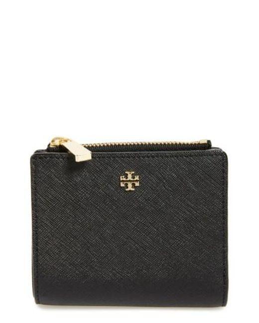 Tory Burch | Black 'mini Robinson' Leather Wallet | Lyst