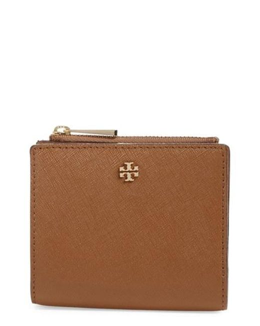 Tory Burch | Brown 'mini Robinson' Leather Wallet | Lyst