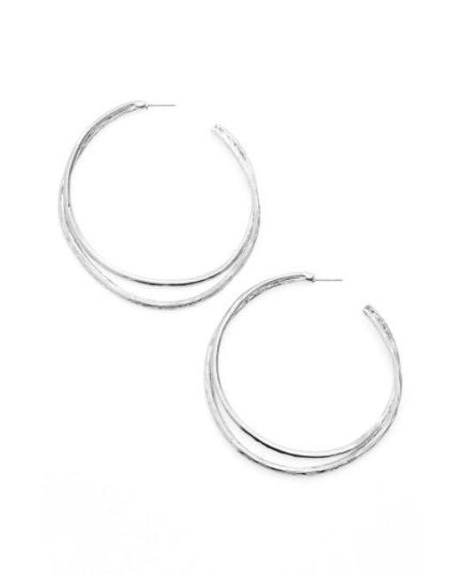 Karine Sultan   Metallic Split Hoop Earrings   Lyst