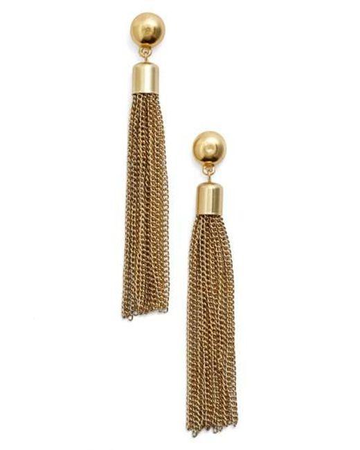 Karine Sultan | Metallic Tassel Drop Earrings | Lyst
