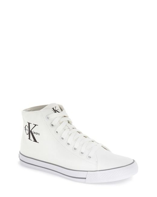 calvin klein jeans 39 ozzy 39 high top sneaker in white for. Black Bedroom Furniture Sets. Home Design Ideas