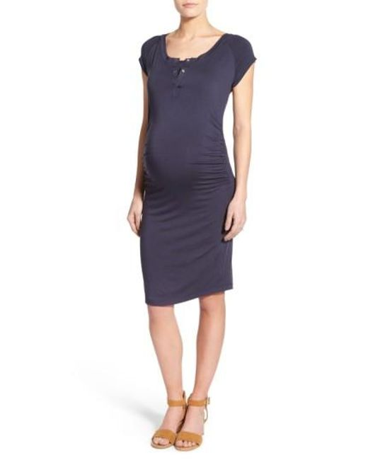 Lab40 | Blue Toni Maternity Midi Dress | Lyst