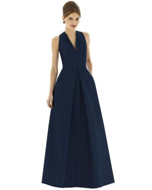 Alfred Sung | Blue V-neck Dupioni Full-Length A-line Dress | Lyst
