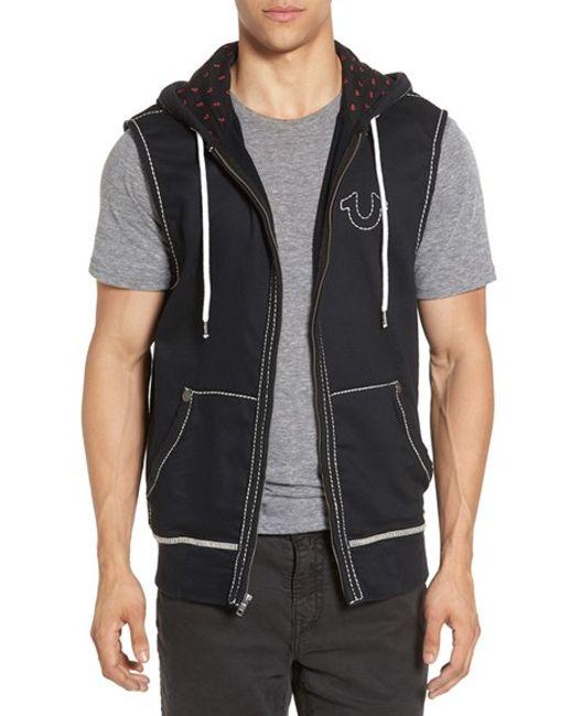true religion sleeveless hoodie in black for men lyst