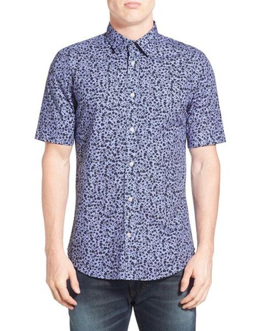 Diesel diesel extra trim fit floral print short sleeve for Best extra slim fit dress shirts
