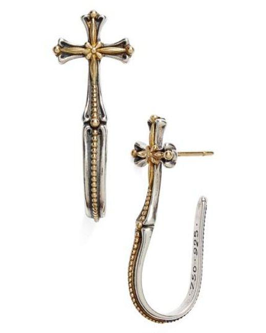 Konstantino | Metallic 'hebe' Cross J-hoop Earrings | Lyst