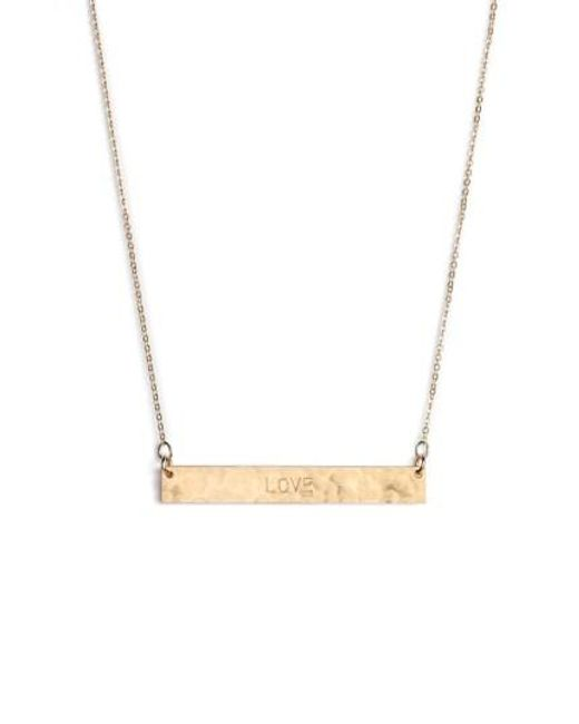 Nashelle | Metallic 14k-gold Fill Stamped Bar Pendant Necklace | Lyst