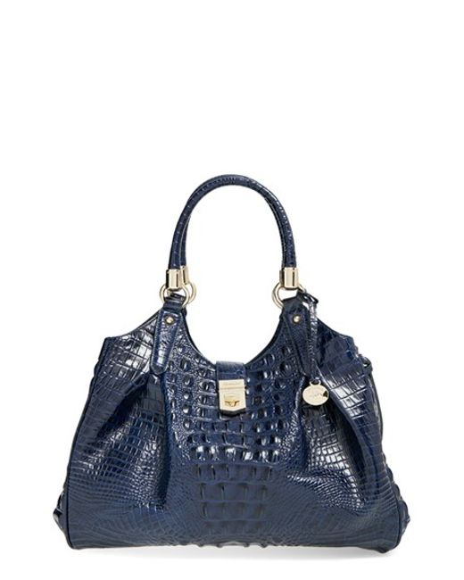 Brahmin | Black 'elisa' Croc Embossed Leather Shoulder Bag | Lyst