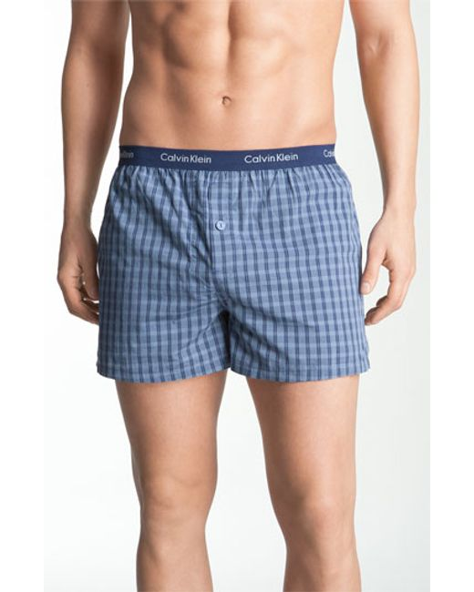 Calvin Klein | Blue 'matrix' Slim Fit Woven Boxers for Men | Lyst