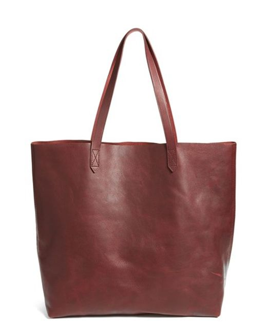 Madewell | Red 'transport' Leather Tote - Burgundy | Lyst