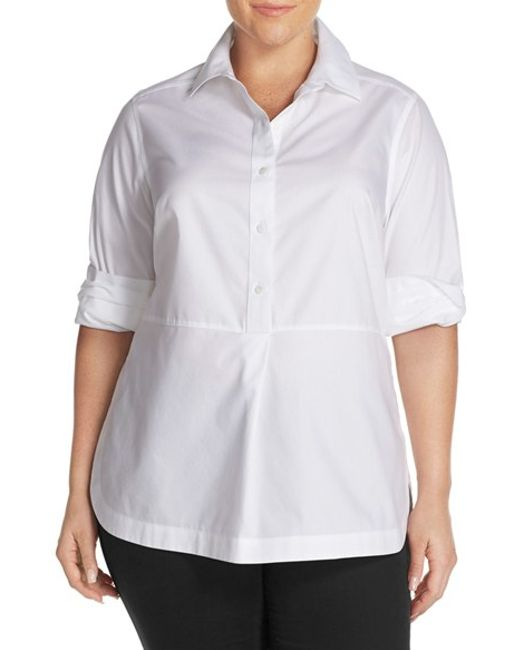 Foxcroft no iron cotton long sleeve tunic shirt in white for No iron shirts mens
