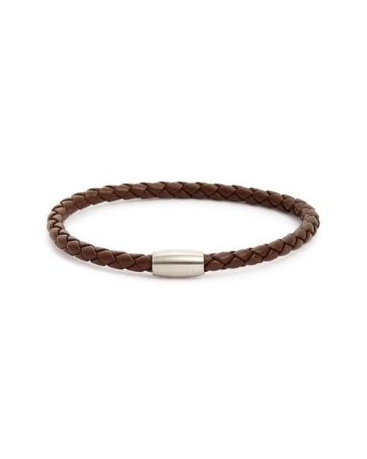 Link Up | Black Woven Leather Bracelet for Men | Lyst