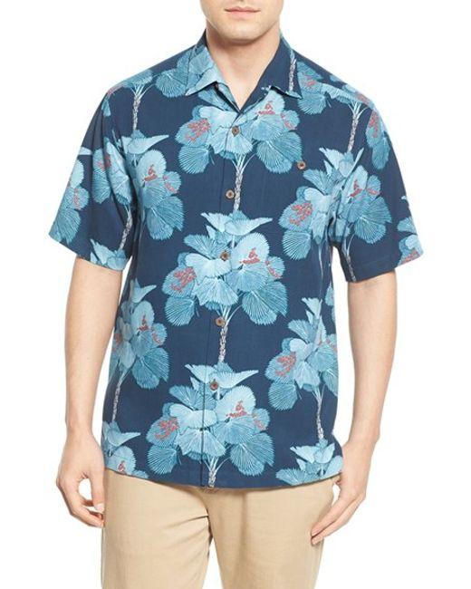 Tommy bahama 39 i 39 m a big fan 39 original fit silk camp shirt for Tommy bahama catalina twill silk camp shirt