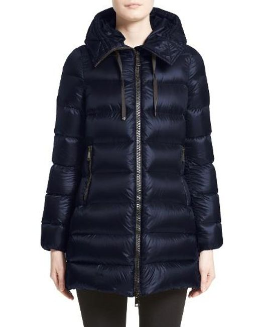 Moncler | Blue 'suyen' Water Resistant Hooded Down Puffer Coat | Lyst