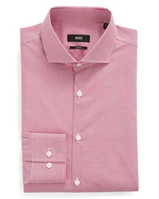 Boss Slim Fit Check Dress Shirt In Pink For Men Berry