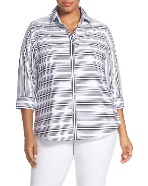 Foxcroft stripe no iron cotton three quarter sleeve shirt for No iron cotton shirts