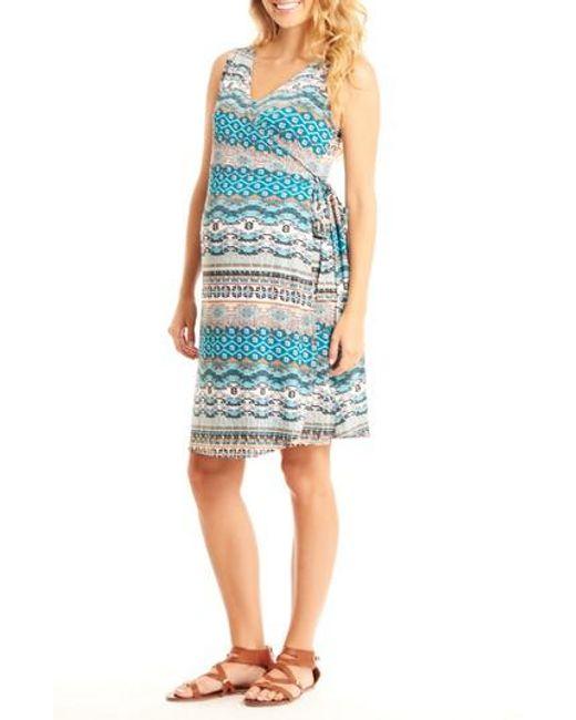 Everly Grey   Blue 'tania' Sleeveless Maternity/nursing Wrap Dress   Lyst