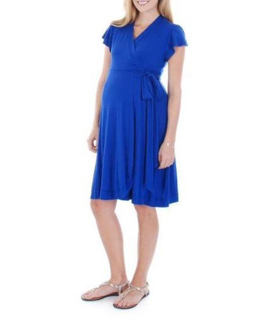 Everly Grey | Blue Kathy Maternity Jersey Wrap Dress | Lyst
