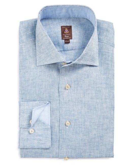robert talbott trim fit chambray linen dress shirt in blue