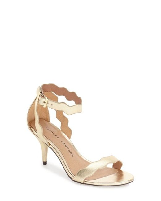 Chinese Laundry | Metallic Rubie Scalloped Leather Sandals | Lyst