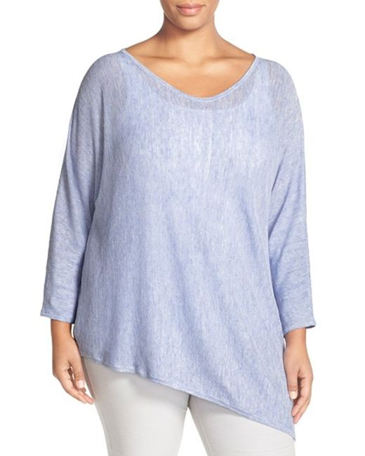 Eileen Fisher Linen Knit Asymmetrical V Neck Top In Blue
