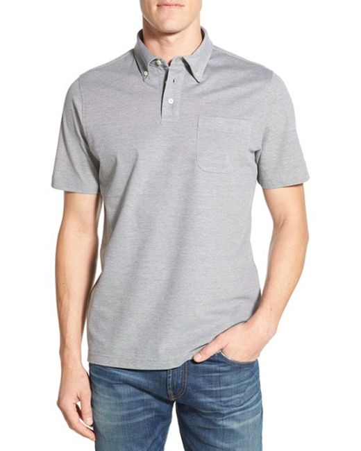 Maker company cotton knit polo in gray for men grey lyst for Polo shirt maker online