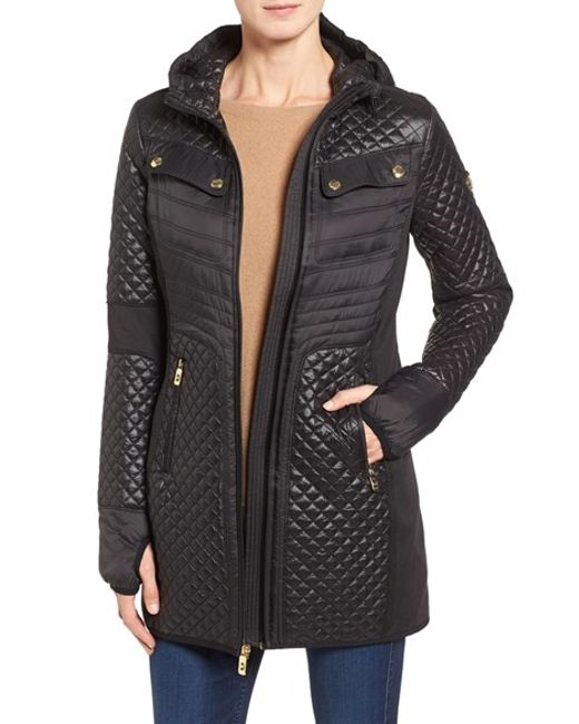 Michael Michael Kors Hooded Zip Front Coat In Black Lyst