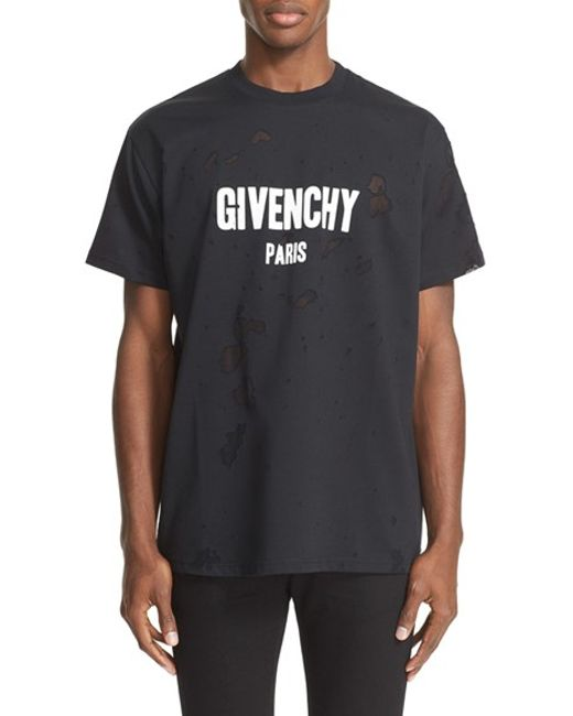 Givenchy burnout logo t shirt in black for men lyst for Givenchy t shirts for sale
