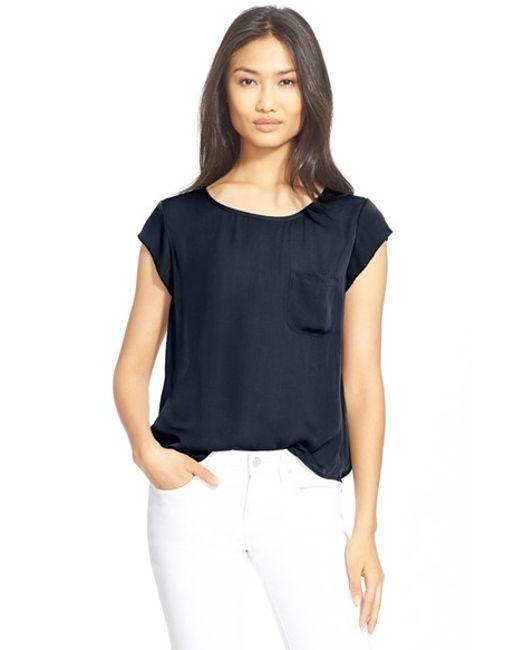 Joie | Blue 'rancher' Silk Pocket Top | Lyst