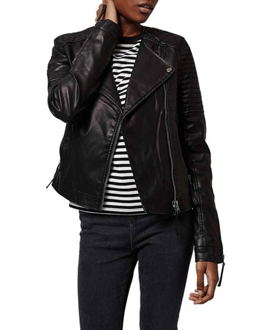 Topshop Quilted Faux Leather Biker Jacket In Black Save 49 Lyst