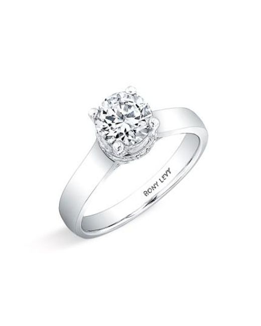 Bony Levy | White Diamond Pave Framed Basket Engagement Ring Setting (nordstrom Exclusive) | Lyst