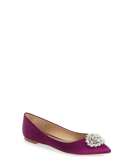 Badgley Mischka | Multicolor 'davis' Crystal Embellished Pointy Toe Flat | Lyst