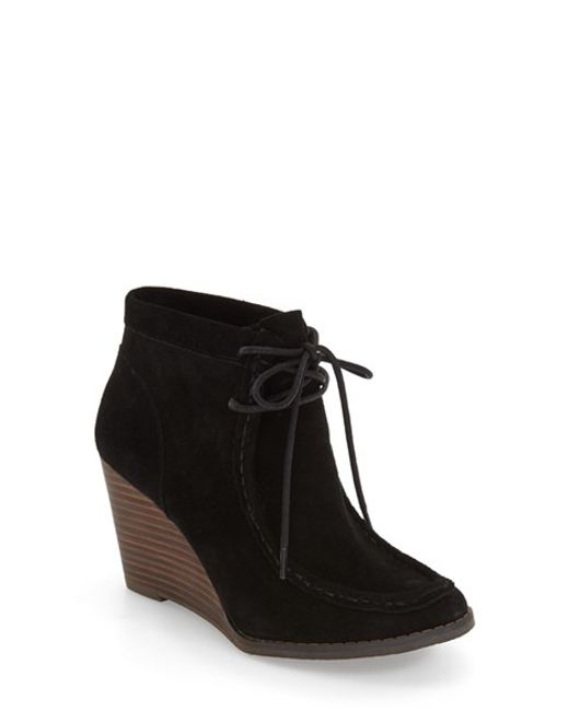 lucky brand ysabel wedge chukka boot in black lyst