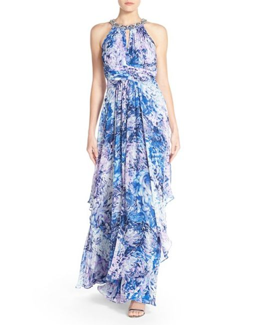 Eliza j embellished floral print chiffon gown in blue for Grandmother dresses for summer wedding