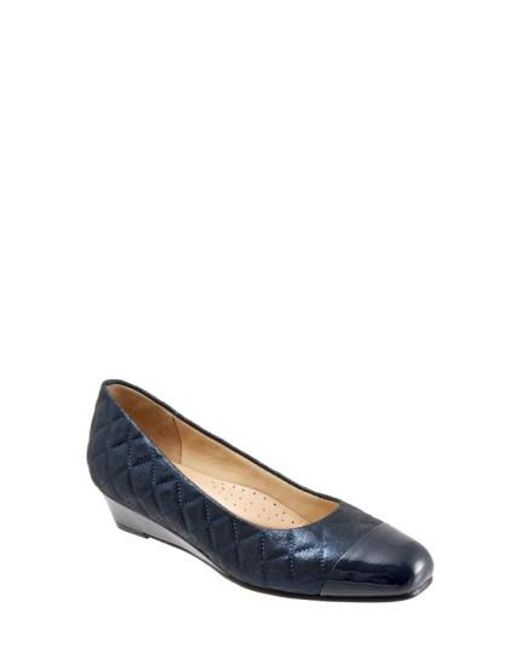 Trotters | Blue 'langley' Cap Toe Wedge Pump | Lyst