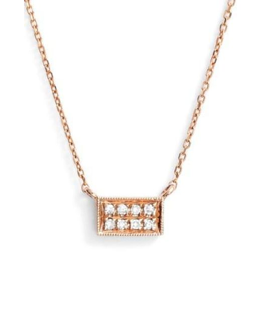 Dana Rebecca   Metallic 'katie' Diamond Bar Pendant Necklace   Lyst