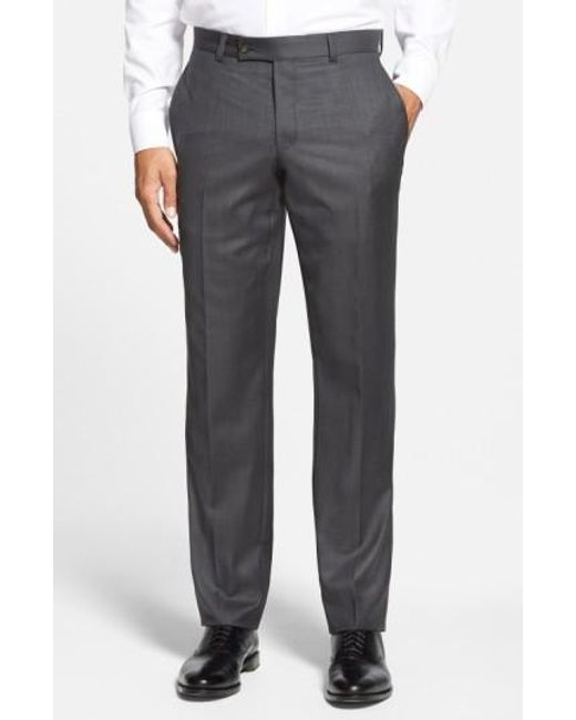 Ted Baker   Gray Jefferson Flat Front Wool Trousers for Men   Lyst