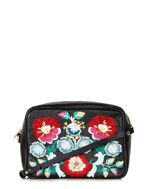 Topshop Floral Embroidery Crossbody Bag In Floral (BLACK MULTI) | Lyst