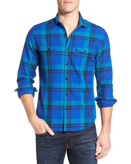Bonobos 39 clark 39 slim fit plaid flannel sport shirt in blue for Women s slim fit flannel shirt