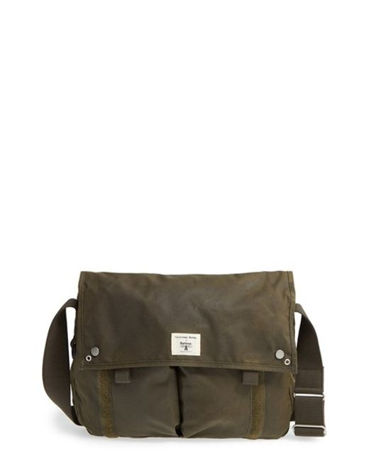 barbour waxed canvas messenger bag in green for men olive