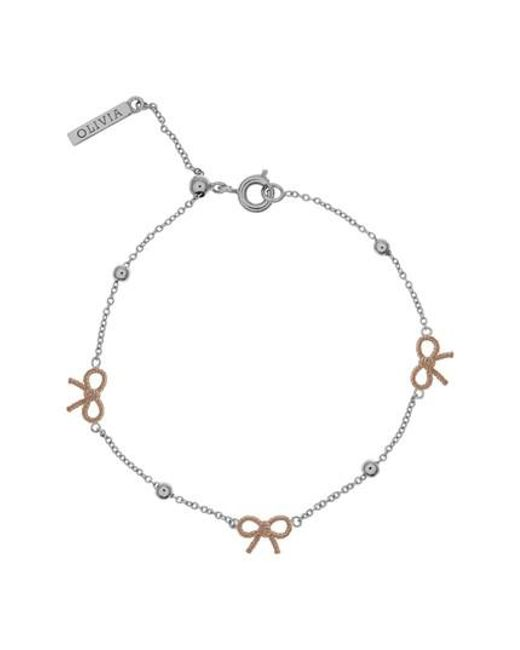 Olivia Burton - Metallic Bow And Ball Silver & Rose Gold Bracelet - Lyst