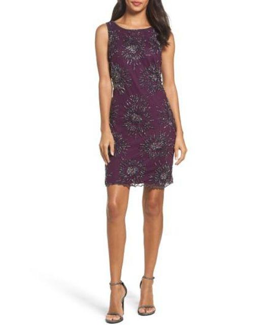 Pisarro Nights | Purple Starburst Beaded Mesh Sheath Dress | Lyst